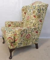 SOLD - Wingback Upholstered Fireside Armchair in the Queen Anne Style